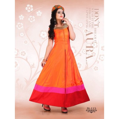 Dazzling Deals Orange Banglori Silk Palzzo(Semi Stitched)